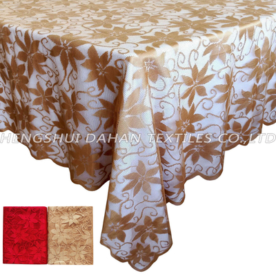 TP10~11 100%poliester table cloth-Red/Golden