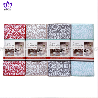 17288 100%polyester plain colour/printing dish drying mat,2pack.