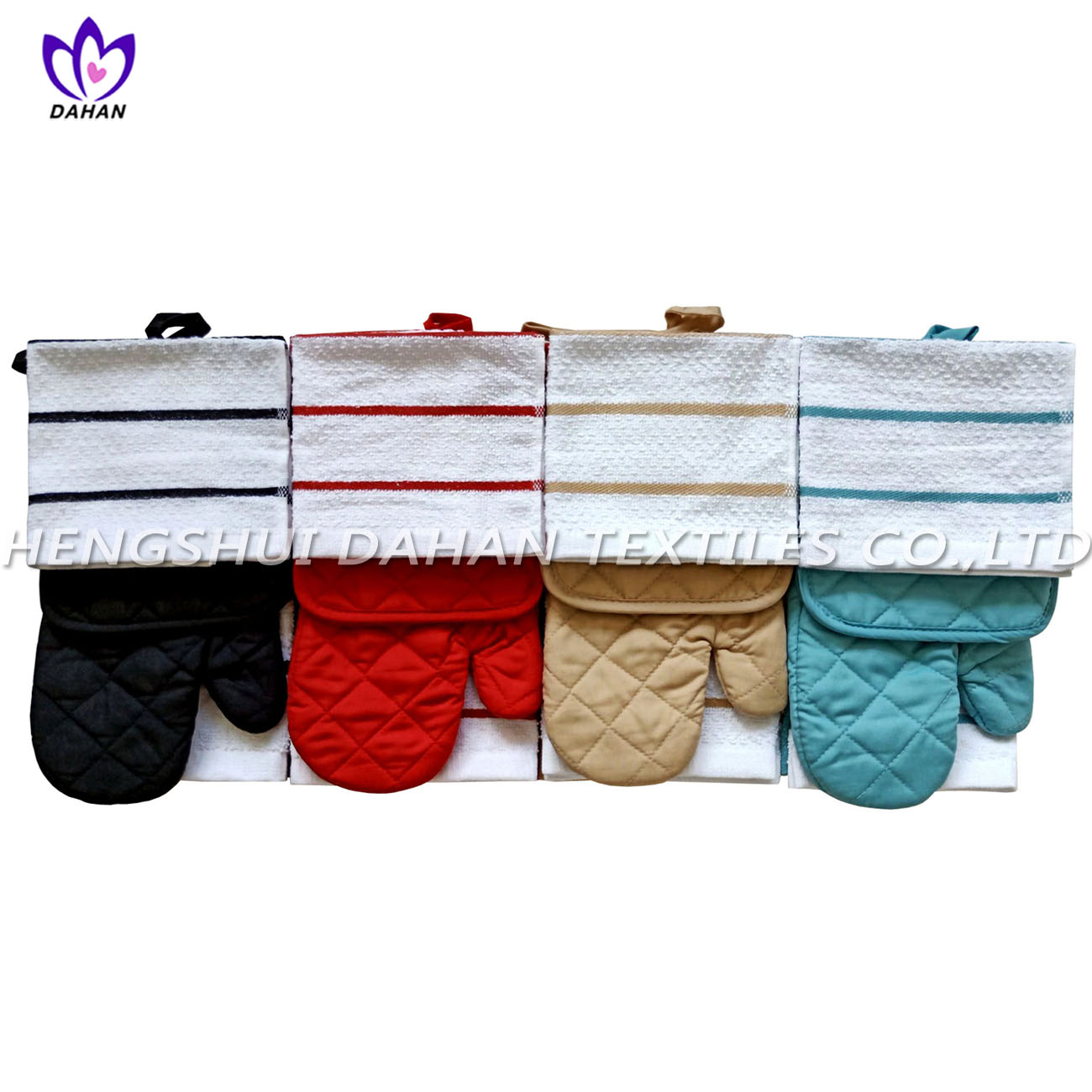 357VW plain colour glove,pot pad, towel 7pack