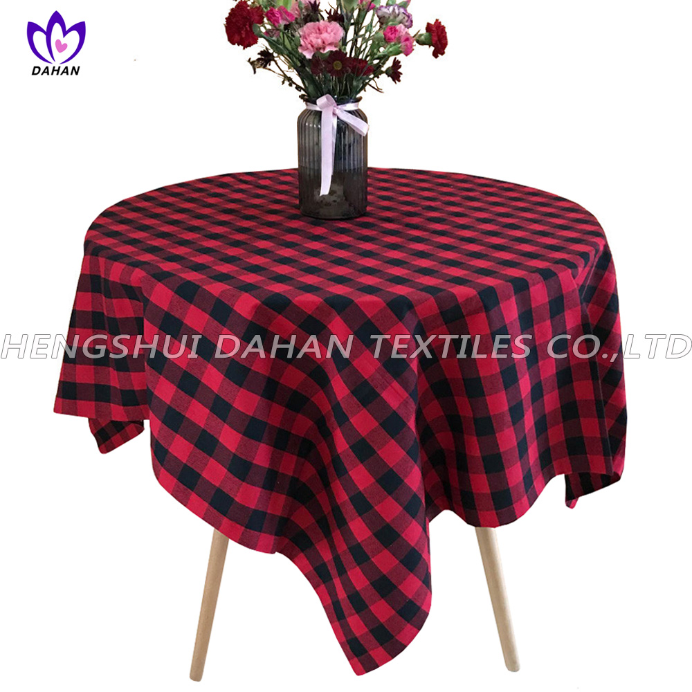 TP12 100%cotton grid table cloth-square/round.