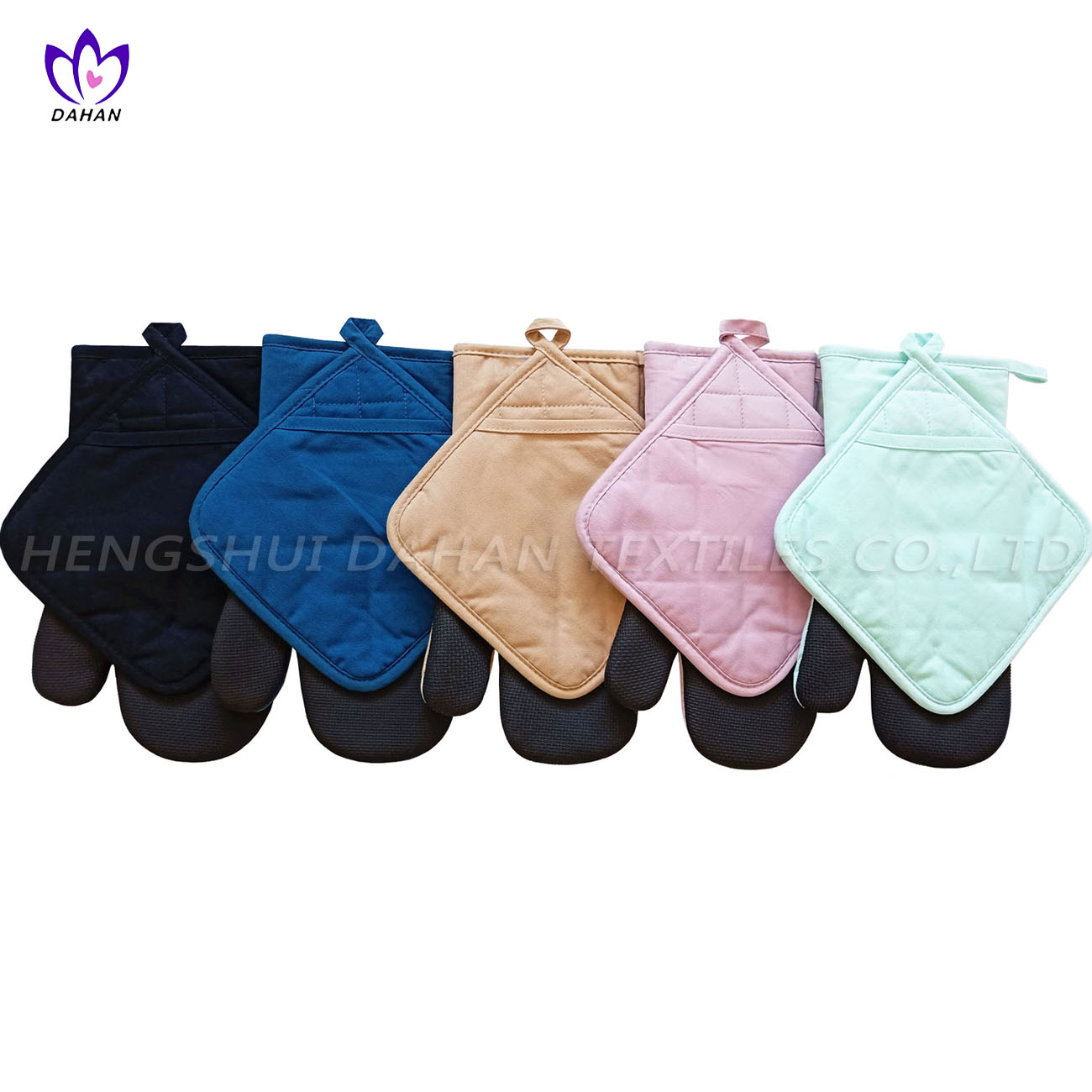 7389 Solid color polycotton neoprene glove, pot pad 2pack.