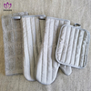 AGP106 Solid color cotton silver glove+pot holder+towel 4pack.