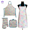 AGP86 Printing cotton twill apron,oven mitt,pot pad,3pack.